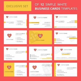 Modèle de carte busienss de coeur. logo créatif et carte de visite modifiables