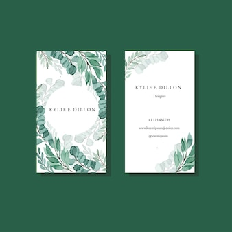 Modèle de carte de bussiness aquarelle vintage cadre vert feuillage