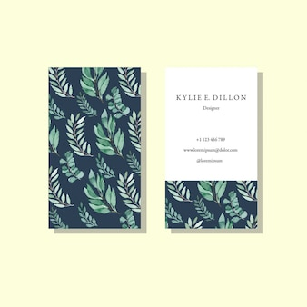 Modèle de carte de bussiness aquarelle vintage motif bleu feuillage vert