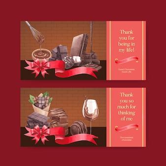 Modèle de carte-cadeau avec le concept de la journée mondiale du chocolat