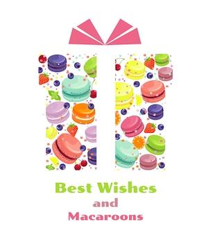 Modèle de carte-cadeau avec fruits et macarons