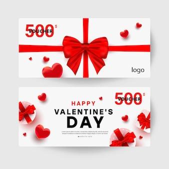Modèle de carte-cadeau de réduction. carte de vente saint valentin.