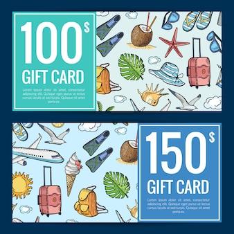 Modèle de carte cadeau ou réduction de voyage été dessinés à la main