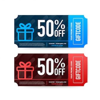 Modèle de carte-cadeau rouge et bleu.