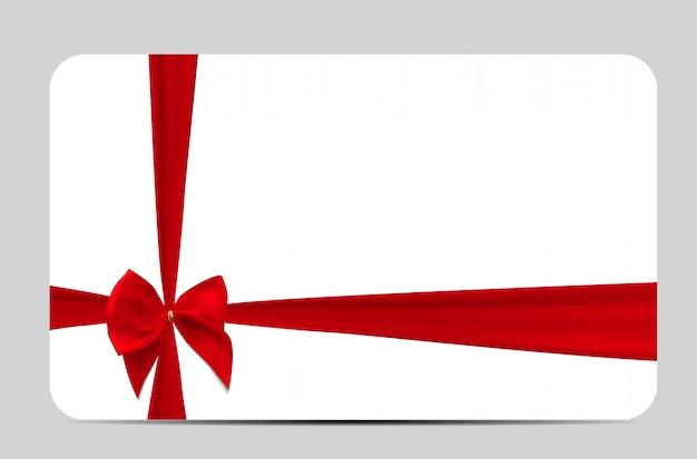 Modèle de carte-cadeau avec ruban de soie rouge et noeud. illustra