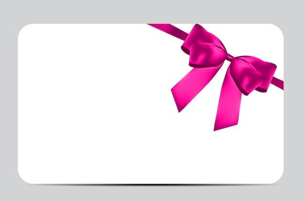 Modèle de carte-cadeau vierge avec noeud rose et ruban