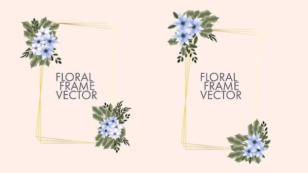 Modèle de carte de cadre floral avec étiquette de fleurs pour faire-part de mariage