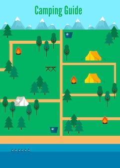 Modèle de carte de camping plat
