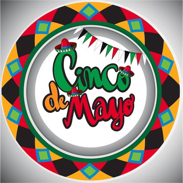 Modèle de carte cinco de mayo avec un design rond