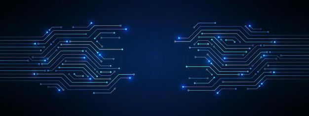 Modèle de carte de circuit imprimé bleu abstrait technologie avec ligne de micropuce de lumière électrique