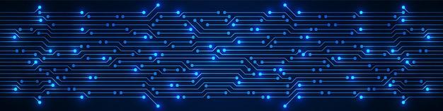 Modèle de carte de circuit imprimé bleu abstrait technologie avec micropuce lumière électricité