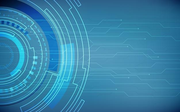 Modèle de carte de circuit imprimé de technologie abstraite et cercles sur couleur bleu foncé