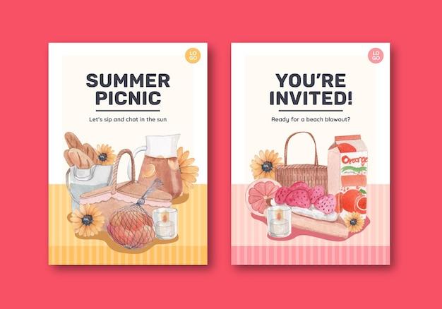 Modèle de carte avec concept de cottagecore d'été, style aquarelle