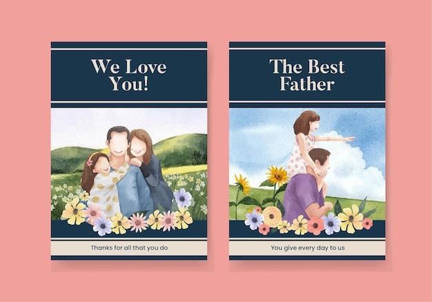 Modèle de carte avec le concept de la fête des pères, style aquarelle