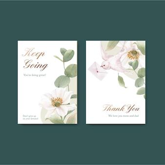 Modèle de carte avec concept de fleurs cottagecore, style aquarelle