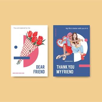 Modèle de carte avec le concept de la journée nationale de l'amitié, style aquarelle