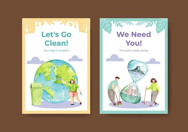 Modèle de carte avec la conception de concept de jour de la terre pour illustration aquarelle de voeux et d'invitation