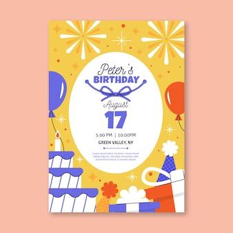 Modèle de carte de conception plate joyeux anniversaire