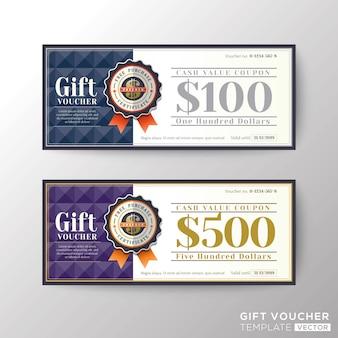 Modèle de carte de coupon de bon cadeau certificat