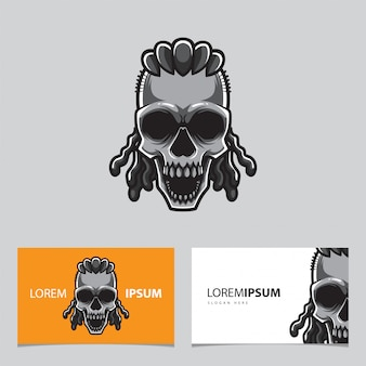 Modèle de carte de crâne de hipster