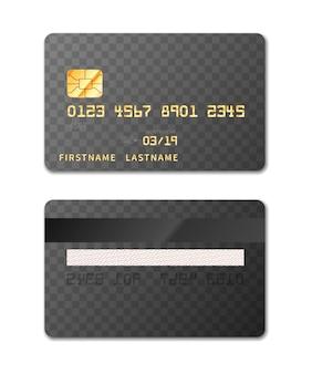 Modèle de carte de crédit des deux côtés, maquette de conception sur fond transparent