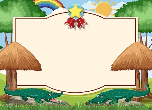 Modèle de carte avec des crocodiles dans l'arrière-plan du zoo ouvert