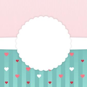Modèle de carte dépouillé rose et bleu avec des coeurs. illustration vectorielle