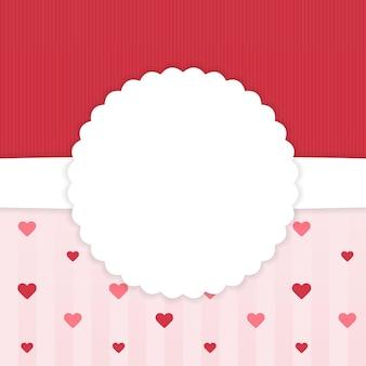 Modèle de carte dépouillé rouge et rose avec des coeurs. illustration vectorielle