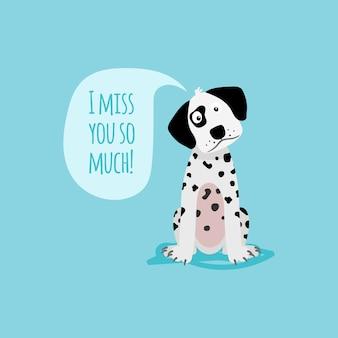 Modèle de carte de dessin animé chien dalmatien heureux