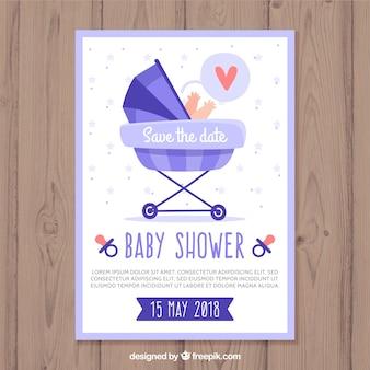 Modèle de carte de douche de bébé avec buggy