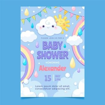 Modèle de carte de douche de bébé chuva de amor