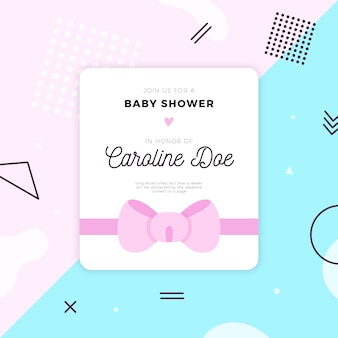 Modèle de carte de douche de bébé