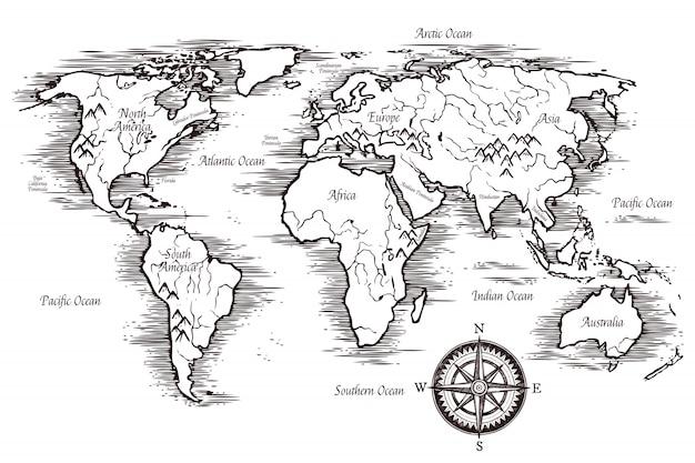 Modèle de carte du monde d'esquisse