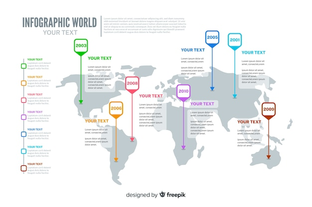 Modèle de carte du monde infographique