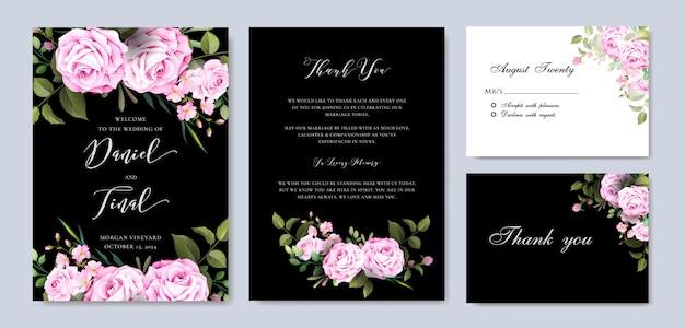 Modèle de carte élégant mariage floral et invitation