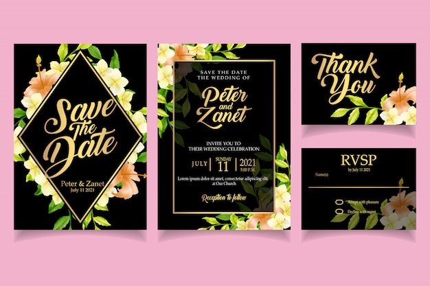 Modèle de carte élégante invitation aquarelle floral rétro