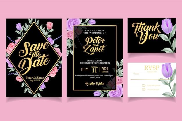 Modèle de carte élégante invitation invitation aquarelle de mariage