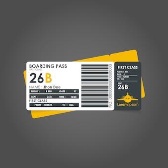 Modèle de carte d'embarquement jaune