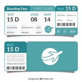 Modèle de carte d'embarquement plat