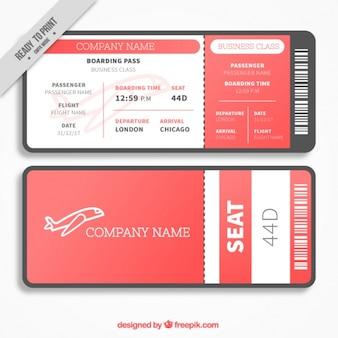 Modèle de carte d'embarquement rouge et blanc dans la conception plate