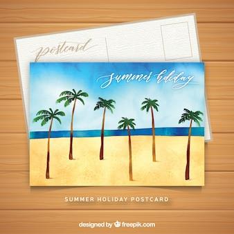 Modèle de carte d'été aquarelle avec palmiers à la plage