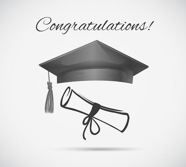 Modèle de carte de félicitations avec casquette de graduation