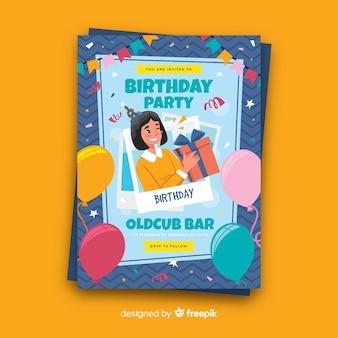 Modèle de carte de fête d'anniversaire plat