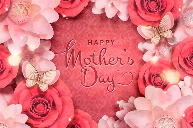 Modèle de carte de fête des mères heureuse avec fleurs en papier et papillon