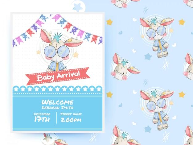 Modèle de carte de fête mignon bébé âne douche et modèle sans couture