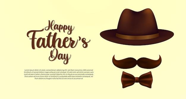 Modèle de carte de fête des pères heureux avec moustache de chapeau et cravate dans un style élégant