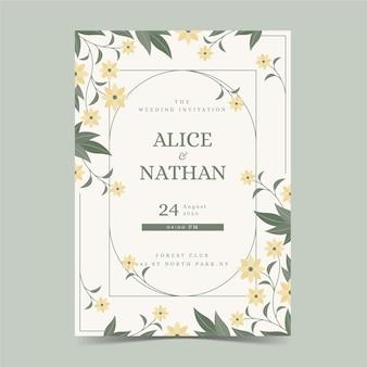 Modèle de carte de fiançailles avec ornements floraux