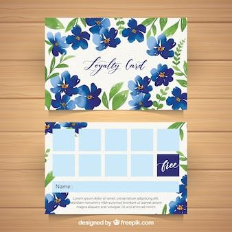 Modèle de carte de fidélité aquarelle avec style floral