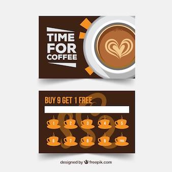 Modèle de carte de fidélité café avec un design plat