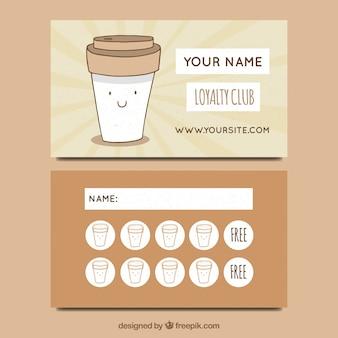 Modèle de carte de fidélité café dessinés à la main